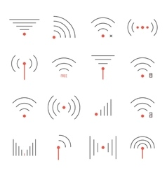 Simple set of thin red and black wifi icons vector