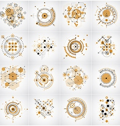 Bauhaus retro wallpapers set of art backgrounds vector