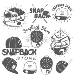 Set of snapback store labels in vintage vector
