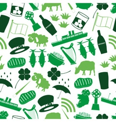 Ireland country theme symbols color icons seamless vector
