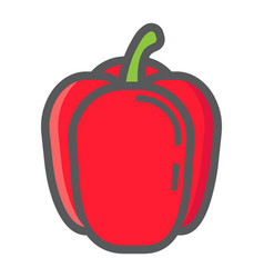 Bell pepper colorful line icon vegetable vector