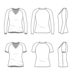 Blank v-neck t-shirt and tee vector image vector image
