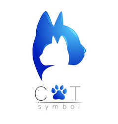 cat care logo blue modern gradient on white vector image vector image