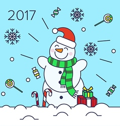 Christmas snowman on the background vector image vector image