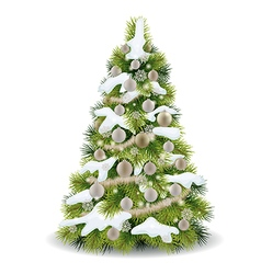 Christmas tree with snow on the branches vector