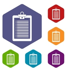 Clipboard with check list icons set vector