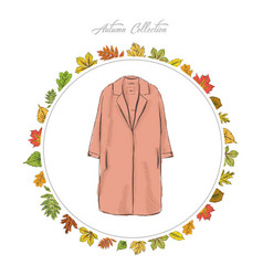 Coat hand draw clothes autumn collection frame of vector