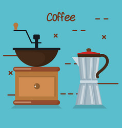 Coffee grinder manual maker and moka pot in blue vector
