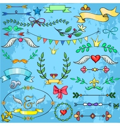 Collection of cartoon design elements for weddings vector image vector image
