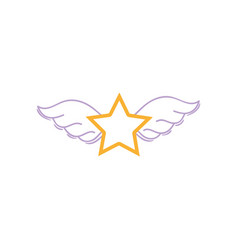 Color line star with wings rock symbol art vector