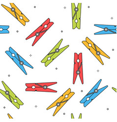 Colorful clothes peg seamless pattern vector