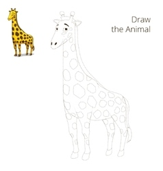 Draw the animal educational game giraffe vector image