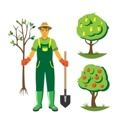 Gardener with trees flat set vector image