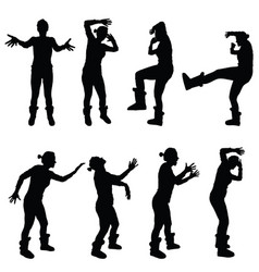 Girl in various poses for violence silhouette vector