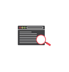 search result symbol seo browser magnifier vector image vector image