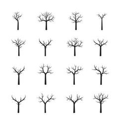 set naked black trees vector image vector image