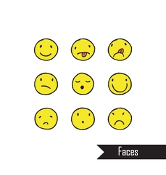 Smile icons different characters freehand drawin vector image