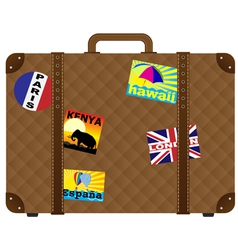 Suitcase with stickers vector