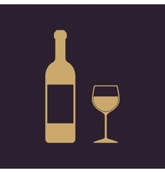 The bottle wine and a glass of drink icon vector