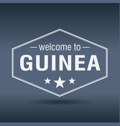 Welcome to guinea hexagonal white vintage label vector
