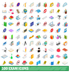 100 exam icons set isometric 3d style vector image vector image