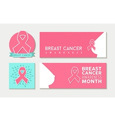 Breast cancer awareness set of banners and label vector