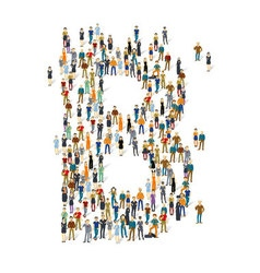 People crowd alphabet abc letter b vector