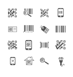 Scan bar and qr code icons vector