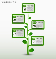 Time line info graphic with abstract green tree vector