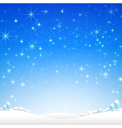 Star night and snow fall bakcground 002 vector image