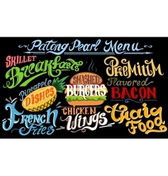 Retro vintage style fast food design lettering vector