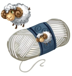 Sheep and roll of white wool thread vector