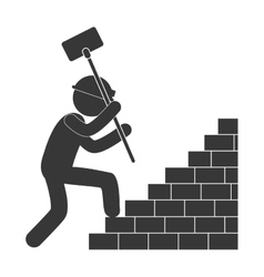 Worker hammer climbing brick stairs figure vector