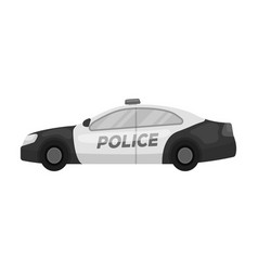 Police car icon in monochrome style isolated on vector