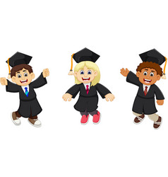 Funny three graduates cartoon vector