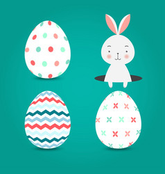 Easter eggs set collection and bunny on turquoise vector
