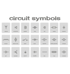 Set of monochrome icons with circuit symbols vector