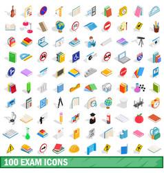 100 exam icons set isometric 3d style vector image