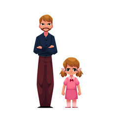 Father and daughter standing with frowned angry vector