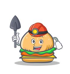 Miner burger character fast food vector