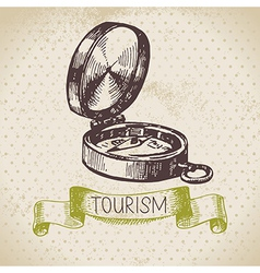 Vintage sketch tourism background vector