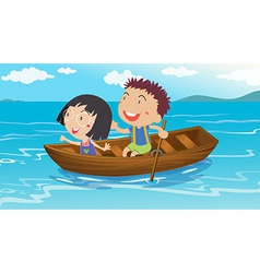 A boy and a girl boating vector