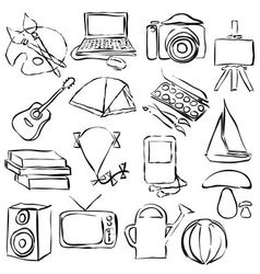 Hobby doodle images vector