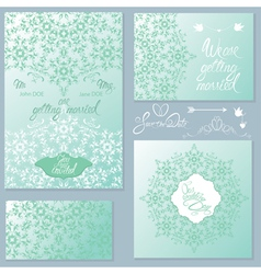 Wedding invitation set 2 380 vector
