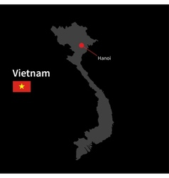 Detailed map of vietnam and capital city hanoi vector
