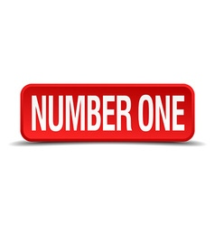 Number one red 3d square button isolated on white vector