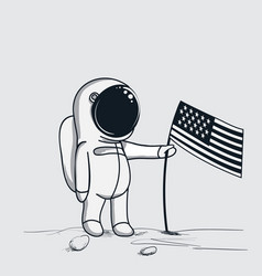 astronaut sets american flag on the moon vector image
