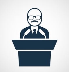 Bald-headed man at rostrum - speaker vector image