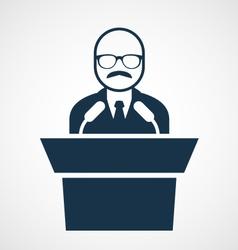 Bald-headed man at rostrum - speaker vector