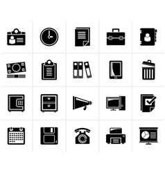 Black business and office supplies icons vector